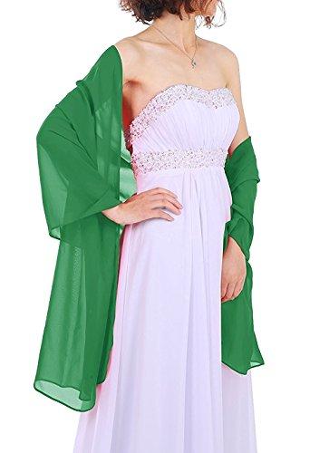 Dressystar Chiffon Stola Schal für Kleider in verschiedenen Farben Grün 200cm*50cm (Chiffon-schal Der Frauen)