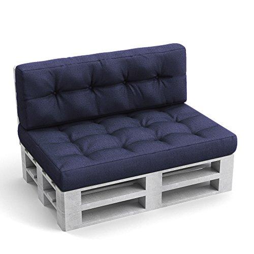 Palettenkissen Palettenmöbel Rückenkissen 120x40x20 cm Palettensofa Palettenpolster Kissen Sofa Polster Indoor Outdoor Blau (Blaue Couch)