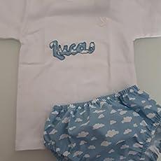 Conjunto Camiseta y Cubrepañal Bebe nubes azul bebe