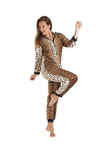 Schlafanzug Leoparden-Muster aus Fleece –  Gold/Braun - 3