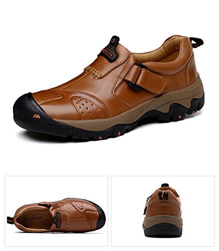 HENGJIA Herren Rindleder Wanderschuhe Outdoor Halbschuh Sportschuhe Sneaker Bergschuhe Rotbraun