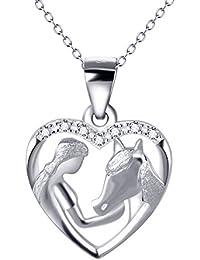 YFN Argent sterling fille et cheval poney Collier Pendentif Coeur Oxyde de Zirconium