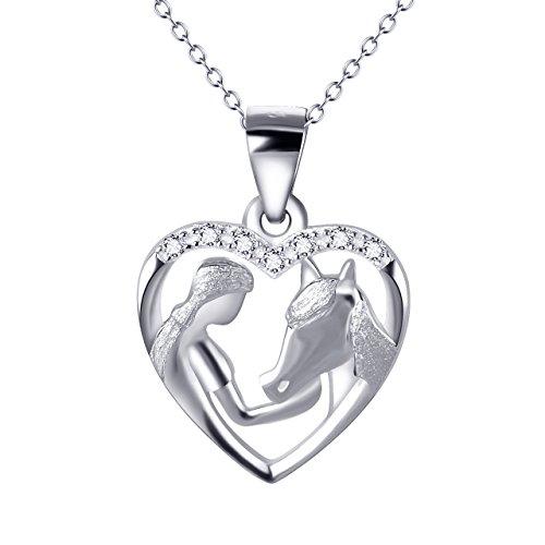"""YFN """"Mädchen und Pony"""" 925 Sterling Silber Zirkonia Herzform Anhänger Halskette"""