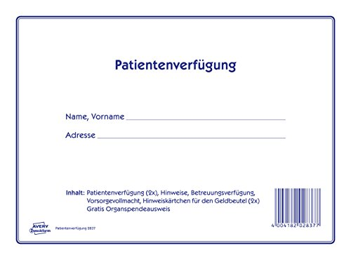 AVERY Zweckform 2837 Patientenverfügung Set (Patientenverfügung, Betreuungsverfügung, Vorsorgevollmacht) 1 Set