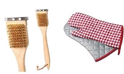 Grillset bestehend aus einer Grillbürste mit stabilen Kupferborsten und XXL-Grillhandschuhen