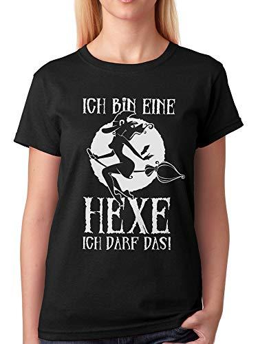 vanVerden Damen Unisex T-Shirt Ich Bin eine Hexe ich darf Das! Halloween Shirt, Größe:XS, Farbe:Schwarz/Weiß