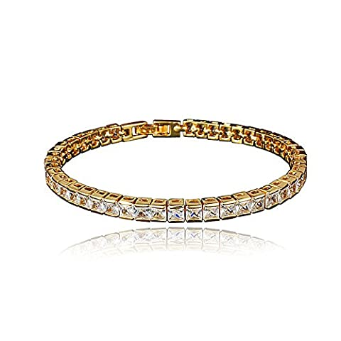 18K Gold Pave Round Cut 5mm Crystal Zircon Bracelet-Bridal, Party, Prom, Pageant, Evening Wear and