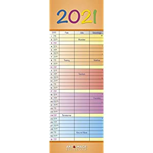 Regenbogen 2021 A&I - Slim-Notes - Streifenkalender - 14,85x42: Bunter Familienplaner