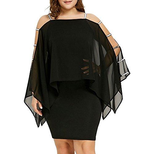 Sasstaids-Dress Kleider Clearance!Sassanids Damen Plus Size Ladder Cut Overlay Asymmetrisches Chiffon Liebsten Minikleid Schulterfreies Kleid Wickelkleid Schlankes Kleid