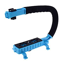 Neewer® C Shaped Video Action Stabilizing Handle Bracket for DV Camcorders DC DSLR Cameras and Point and Shoot Cameras--Blue