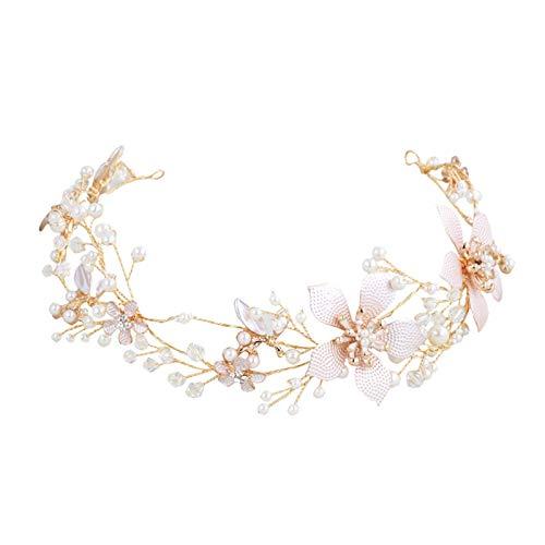 SWEETV Gold Hochzeit Haarband Braut Perle Stirnbänder Blume Haarreifen Kristall Haarschmuck