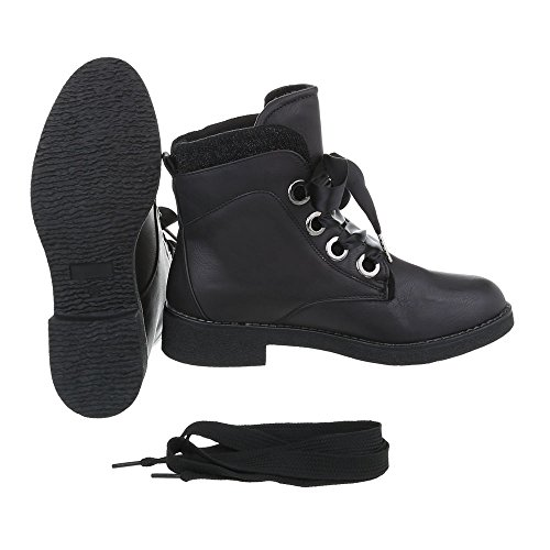Schnürstiefeletten Damenschuhe Schnürstiefeletten Blockabsatz Schnürer Schnürsenkel Ital-Design Stiefeletten Schwarz