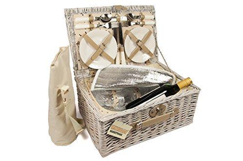 ELITEHOUSEWARES Luxury 4 Person Wicker Chiller Picnic Hamper Basket With Cooler Compartment and Bottle Cooler Bag