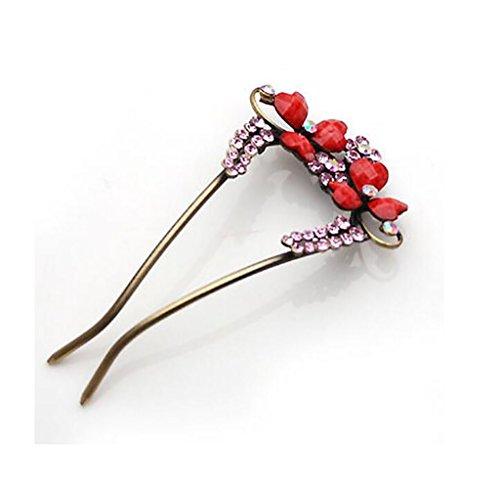 XWQ Forcella / cuore della pesca tornante capelli / donna bande U-tipo di capelli / forcella / capelli fibbia fascia Plug ( colore : Rosa )