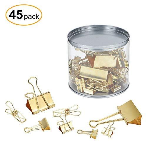 TORONTO Foldback-Klammern Papierklammer, 45 St¨¹ck Papierbinder sortiert Gr??en - Gold