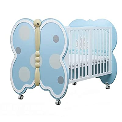 DUWEN-Cot bed Solid Wood Multifunctional Baby Cot European Toddler Bed Game Bed Children's Bed (color : Blue)