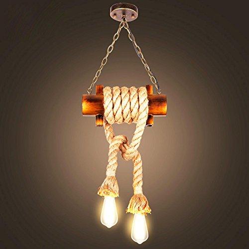 AMZH Retro-Massivholz-Hanf-Seil-Pendelleuchte 2 Tischler Handgefertigte fertige fertige Hanf-Seile Lampe Edison-Birne 110V 220V E27