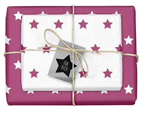 """4x zweifarbiges Geschenkpapier""""Weihnachten: Sterne lila/pink-weiß"""" + 4x Anhänger""""edel, silber-schwarz"""" (doppelseitige Bögen DIN A2, Öko-Recycling-Papier)"""