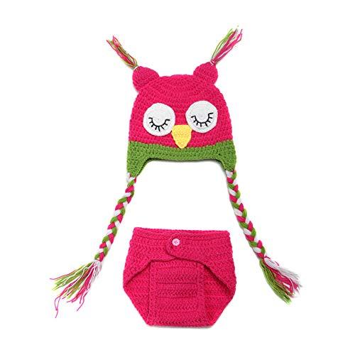 Kostüm Einzelhändler - WESEEDOO Baby Fotoshooting Stricken Eulen Kostüm Set Stützen-Hüte Häkeln Sie Süße Hosen Fotografie Prop Rose red