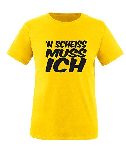 Luckja n` scheiss muss ich Herren Rundhals T-Shirt Gelb/Schwarz
