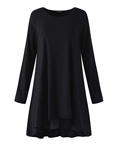 ACHIOOWA Damen Shirt Langarm A-Linie Casual Mini Party Stretch Oversize Oberteil Tops Schwarz