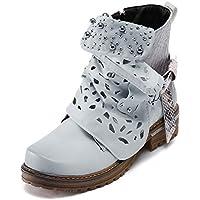 LILICAT❋ Moda Botas de Cuero con Hebilla de Calado Botas con Cremallera Lateral Botas de