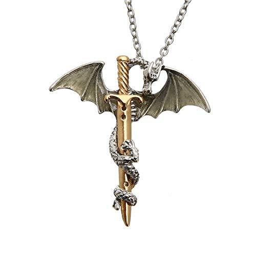 Vintage Glow In The Dark Chain Necklaces Shellhard Luminous Sword Dragon Pendant Halskette Für Mens Punk Jewelry Goldschwert Blau