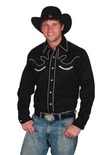 western-express-camicia-da-uomo-da-cowboy-retro-in-cotone-al-100-black-x-large