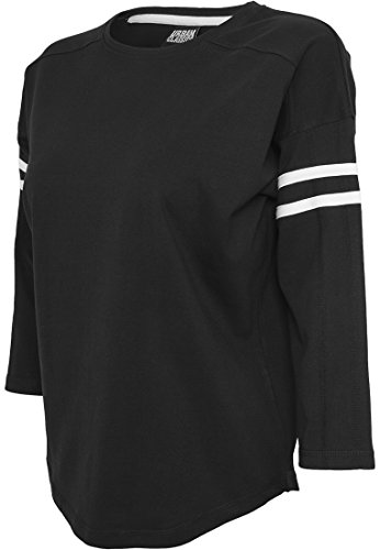 URBAN CLASSICS - Ladies Sleeve Striped L/S Tee (black/white), Gr. L (Striped Tee L/s)