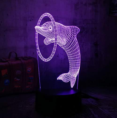 Guo Dolphin 3D Nachtlicht - Dolphin Jonglieren - Kreatives Nachtlicht - Kreatives Geschenk - Acrylmaterial - 3D Tischlampe - Beste Wahl Für Freunde - Mehrere Farben Können Ihre Schönheit Aufhellen -