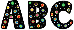 Creative Teaching Press 2-Inch Uppercase Letter Stickers, Dots on Black (4190)