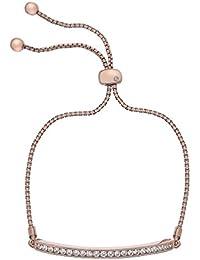 Hot Diamonds Pulsera de chapado en oro rosa de cristal de 19cm), transparente