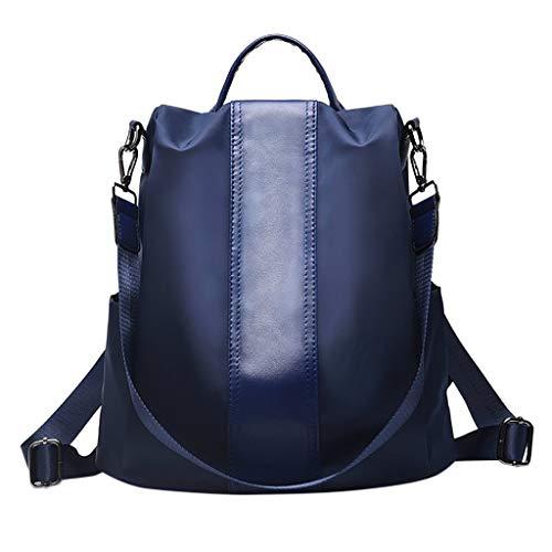 Tohole Damen Oxford Schultertasche Rucksack Tasche Leder Handtasche Schulbuchtasche Wasserdichte Daypack Schultaschen Diebstahlsicher Tagesrucksack Schultertaschen(Marine) (Sommer-monitor Touch Baby)