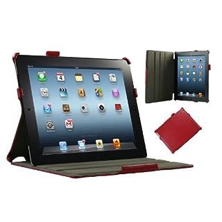 Adento iPad 4 Hülle & iPad 3 Hülle | Smart Cover aufstellbar | Handschlaufe & Stylus-Halterung Luxus Leder für Apple Tablet 9 7 Zoll | Original Marken-Design | Rot