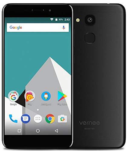 VERNEE M5 4G LTE Doble SIM teléfono móvil - 5.2 Pulgadas Smartphone Libre de Android de Textura de Metal y Ultra Delgado(6.9mm) - Octa-Core 4GB+64GB, 8MP + 13MP, 3300mAh batería, GPS + GLONASS Negro