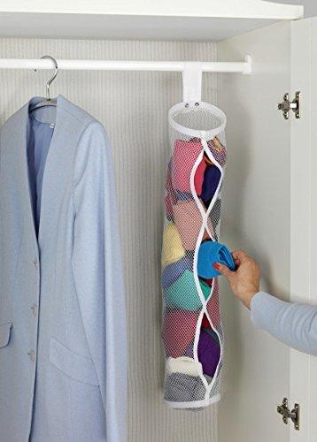 Quantio WENKO Socken-Organizer weiß - 100% Polyester - 60 x 13 cm (HxØ) - Aufbewahrung für Socken - Netzoptik