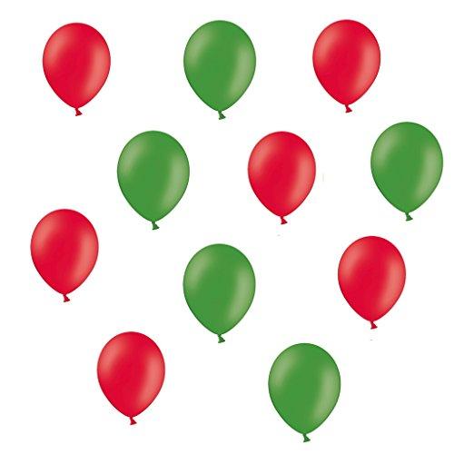 50 Premium Luftballons in Rot/Grün - Made in EU - 100% Naturlatex somit 100% giftfrei und 100% biologisch abbaubar - Geburtstag Party Hochzeit Silvester Karneval - für Helium geeignet - twist4® (Nimmersatt Raupe Geburtstag)