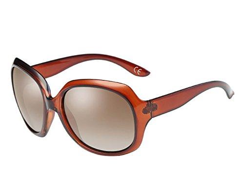 BVAGSS Mode Großer Rahmen Damen Polarisiert Sonnenbrille 100% UV-Schutz (Brown Frame With Brown Lens)
