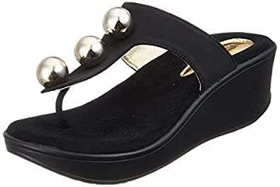 Catwalk Women's Pearl Detail Thong Slip Ons