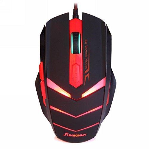 Zeile Sechs Licht (Qisan Kabellose Optische (TM) USB Wired 6Tasten 1600DPI LED Red Light Gaming Maus Schwarz)