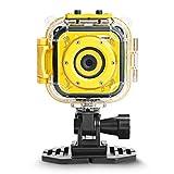 DROGRACE Kids 1080p HD Digitale Impermeabile Sport d' Azione videocamera Subacquea per Ragazzi Birthday Holiday Gift Bambini First Camera (Giallo), Small