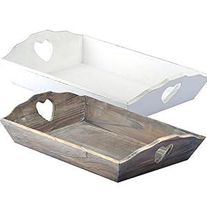 Herz Tablett LOVE Holz Shabby Chic Landhaus Holztablett Kerzentablett | Tablett |Serviertablett | Deko, Küchentablett, Serviertablett | schönen Tablett aus Holz | | L x B x H : ca. 42.70 x 27.20 x 05 cm | Weiss