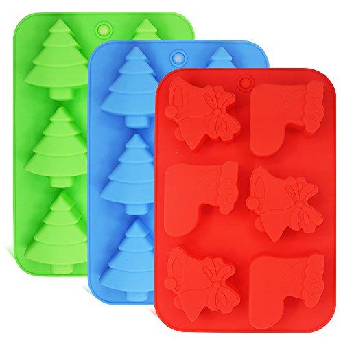 3 Pack Silikon Formen, Formen von Weihnachtsbäumen, Socken und Glocken, FineGood Backformen für Urlaub Kuchen, Süßigkeiten, Pralinen, Gelee, Seife - Grün, Blau, Rot