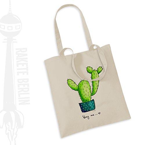 Jutebeutel Stoffbeutel Baumwolle \' Kaktus - Hug me \'\'