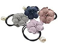 Ysting 4pcs Women Girl Pearls Beads Flower Hair Band Rope Scrunchie Ponytail Holder