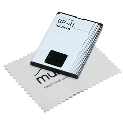 Akku für Nokia Original BP-4L für Nokia 6650 Fold, 6760 Slide, E52, E55, E6-00, E61i, E63, E71, E72, E90, N810, N97 mit mungoo Displayputztuch E72 Smartphone