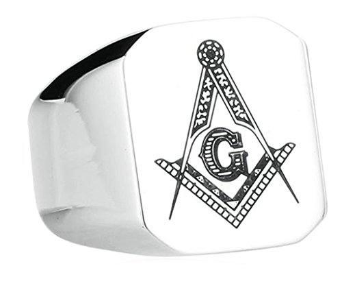 Bishilin Masonic Ringe Freemason Symbol Mitglied Silber Edelstahl Punk Mason Schmuck Band Größe 68 (21.6)