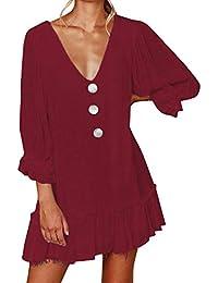 4e604befa VJGOAL Verano de Las Mujeres de Moda Casual Color sólido Vestido Plisado  Sexy Profundo Cuello en