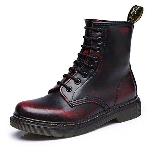 ShallGood Mujer Unisex Moda Invierno ZBotines con Cordones Apatos Botas Militares Adulto Martín Boots Botines Botas de Nieve Botas Terciopelo Vino rojo EU 37