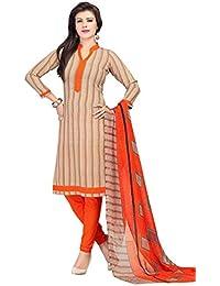 A K Designer Women's Chiffon Dress Material (Mehak10006_Free Size_Orange)